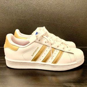 Women's Gold/White adidas superstar sneakers
